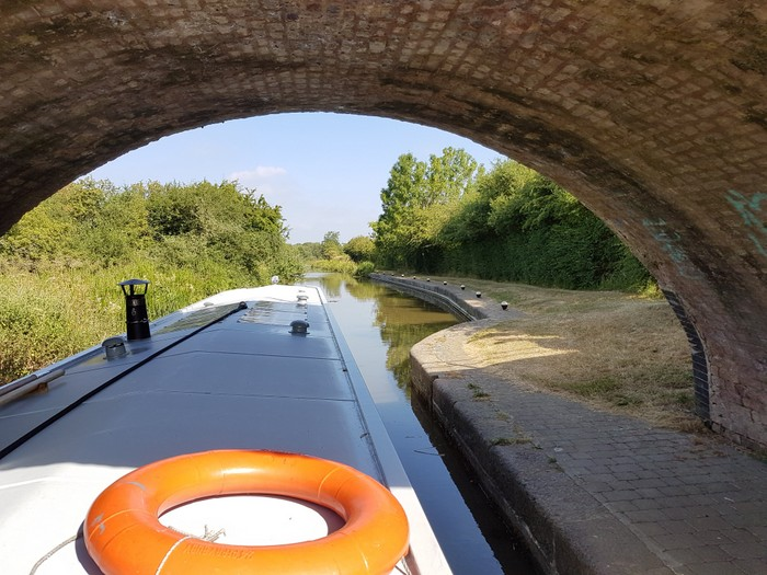 going under a bridge on the canal