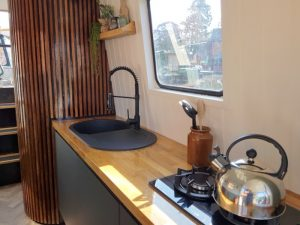 The kitchen on Water Vole electric canal boat
